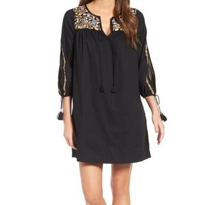 Madewell black dress with embroidered flowers